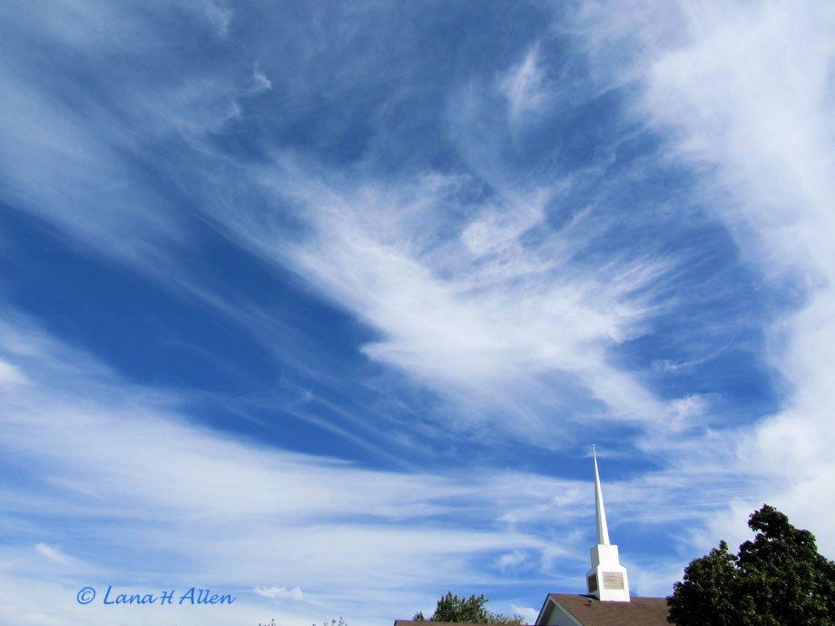Bird Cloud over Church